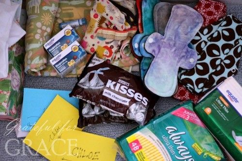 Celebrating a daughter's first period.  Menstrual cycle kit for girls