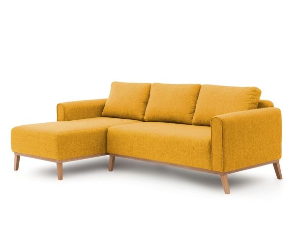Bank met chaise longue links Milton, mosterd geel, L 252 cm