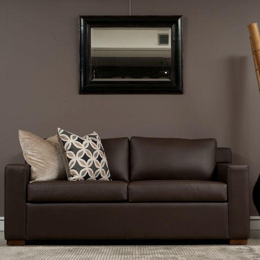 Harvard Chocolate Leather Sofa Bed. The Harvard sofa bed is made in Sydney. Australia. It comes in a full range of leather colours, custom made in 4 to 6 weeks and is available in single, double and queen size. www.sofastudio.com.au
