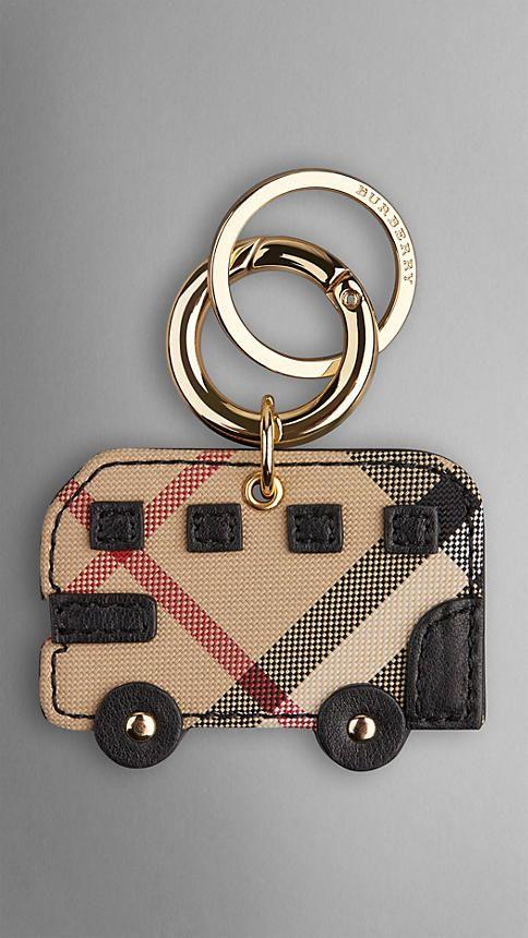 Noir Porte-clés Bus londonien à motif Horseferry check - Image 1