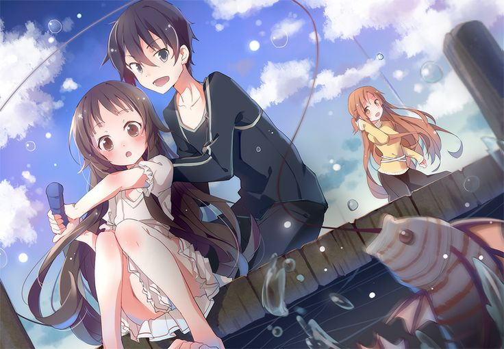 Sword Art Online | A-1 Pictures | Reki Kawahara | abec / Kirito, Asuna, and Yui / 「ユイちゃん頑張れ!」/「現実迷子」のイラスト [pixiv]