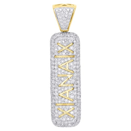 "10K Yellow Gold Diamond 3D Double Sided Xanax Pill Pendant 1.55"""" Charm 2.57 CT."
