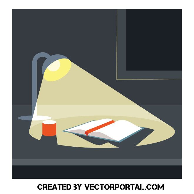Desk Lamp And A Book Art For Kids Vector Free Book Illustration