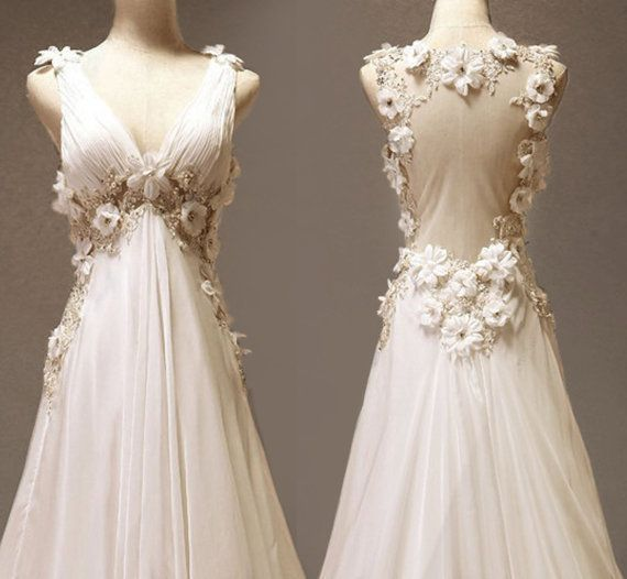 $309.00 Custom make Vintage Wedding Dress A LINE Bridal Gown by wonderxue    @Jessica Kereliuk: Wedding Dressses, Lace Flowers, Chiffon Wedding Dresses, Wedding Gowns, Vintage Wedding Dresses, Get Married, Bridal Gowns, Wedding Photos, Beaches Wedding