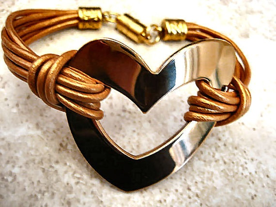 "Chic Metalic Copper Leather Rose Gold Stainless Steel Heart Bracelet ... Magnetic Clasp ...""FREE SHIPPING""    by LeatherDiva, $24.00"