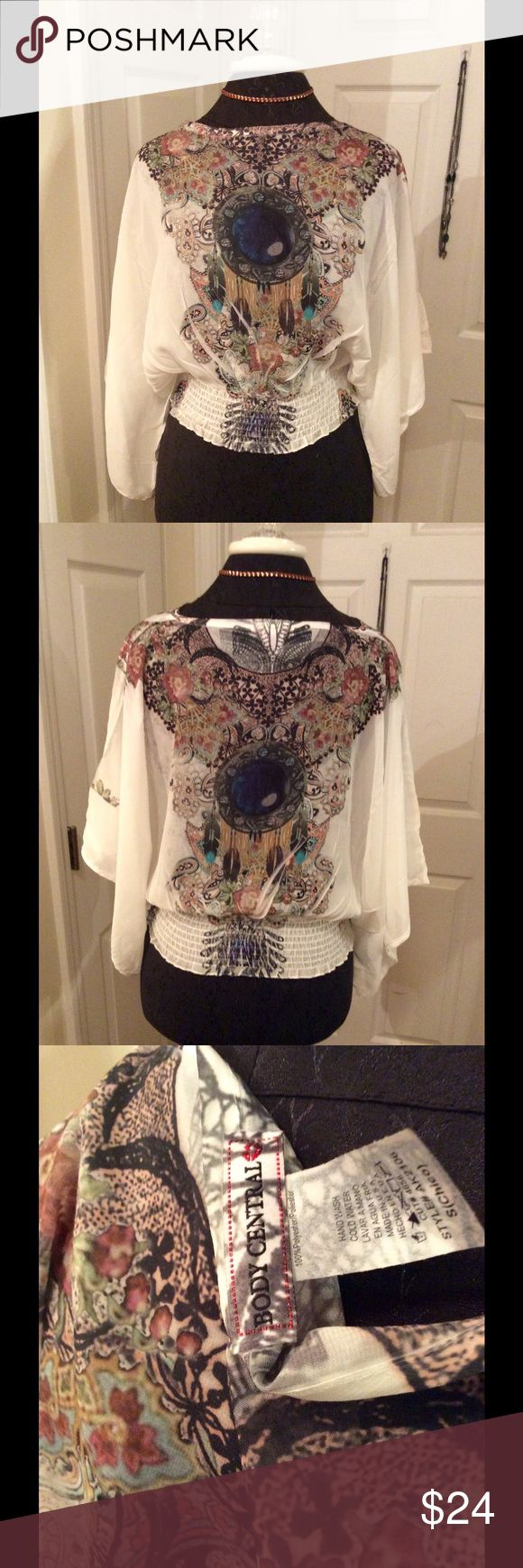 "⚜Boho style top by Body Central!⚜ Beautiful top by Body Central. Dollman sleeves with 3"" elastic waist. Stunning, vivid, jewel-like colors. Lightweight top. Body Central Tops Blouses"