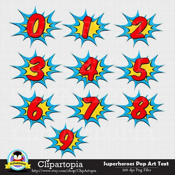 Superhelden Pop-Art-Text und Blasen Clipart / Superheld Text und Blasen digitale ClipArt / Superheld Photobooth Requisiten