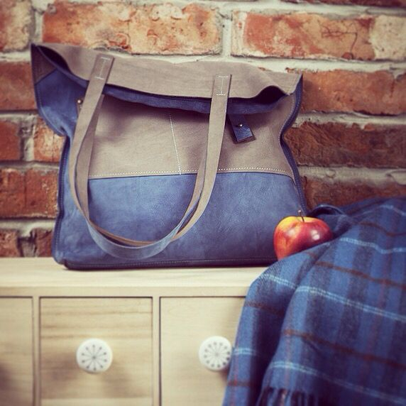 stunning softly awesome lovely leather brown and blue bag by toshibags from etsy