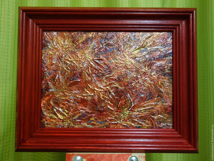 """Купить """"Вишнево-золотистые цветы""""-абстракция акрилом в стильной раме - вишневые цветы, цветы абстрактные"""