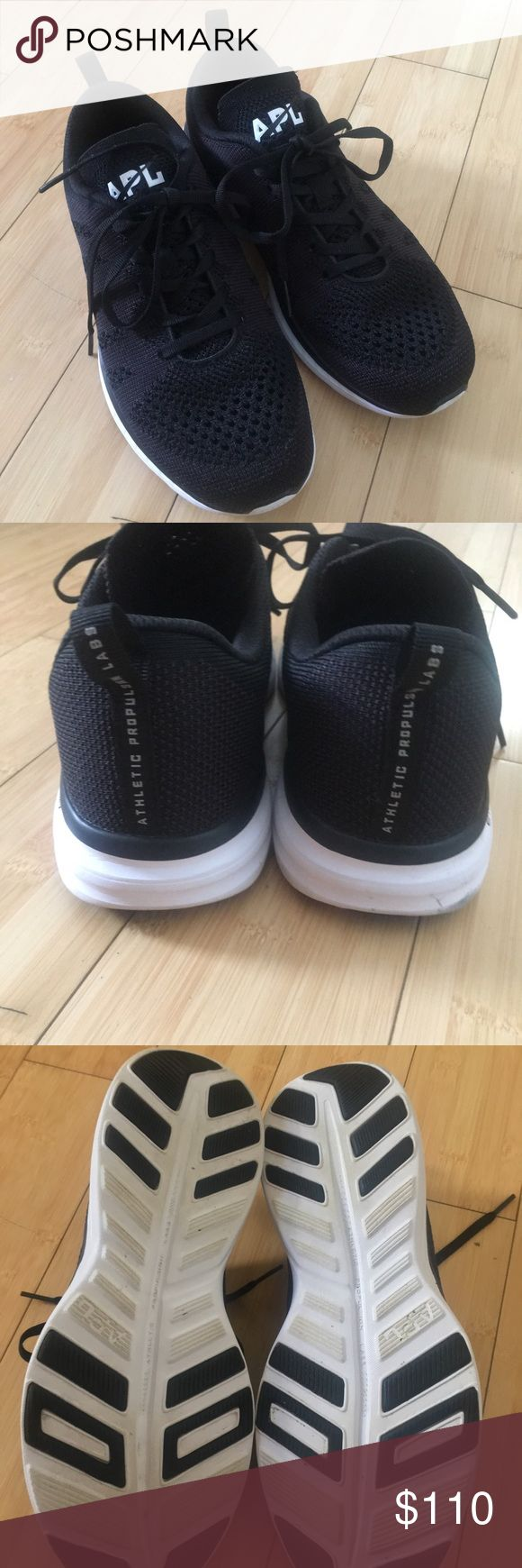Popular APL sneakers Adorable black and white APL sneakers as seen worn by celebrities. Excellent condition worn once just not the right size for me. See pics for wear. Includes second set of black shiny laces. apl Shoes Sneakers