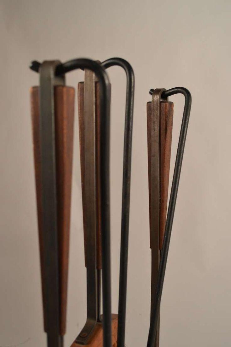 best  midcentury fireplace tools ideas on pinterest  - fivepiece midcentury fireplace tools with log holder