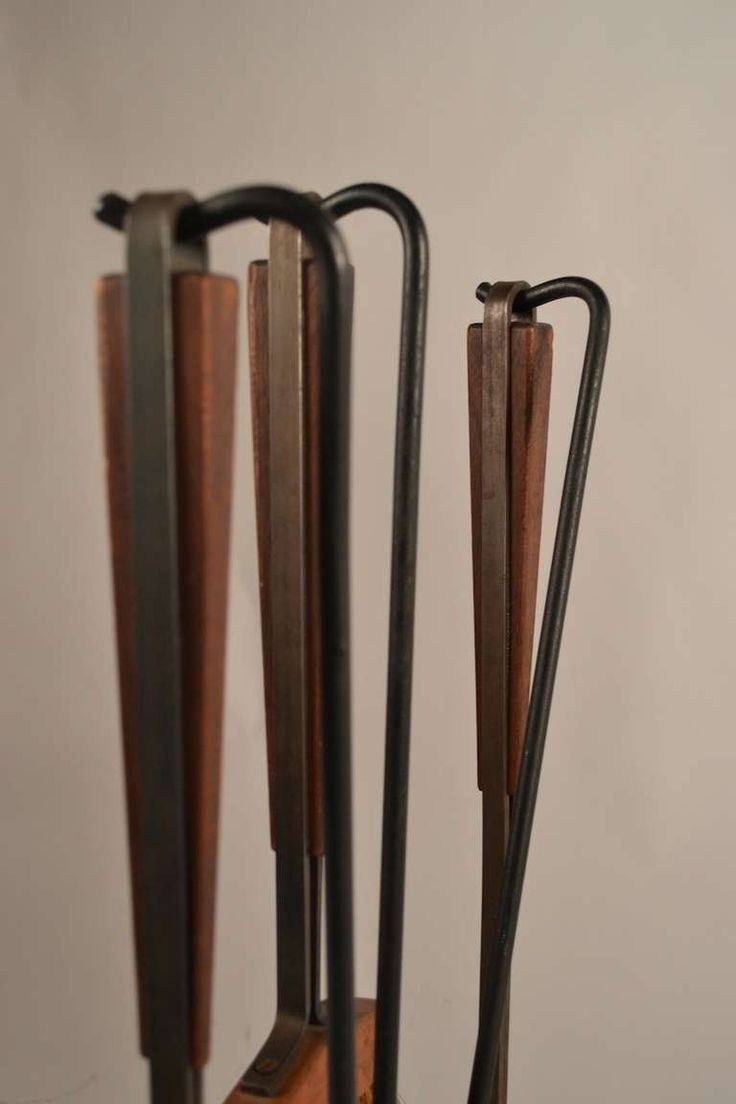 Five-Piece Midcentury Fireplace Tools with Log Holder 6