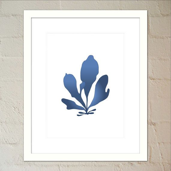 Seaweed 4 in Indigo  Wall Art Poster by paper4download on Etsy