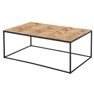 VERSAILLES Table basse industriel en Paulownia massif et MDF + pieds métal laqué noir - L 120 x l 70 cm