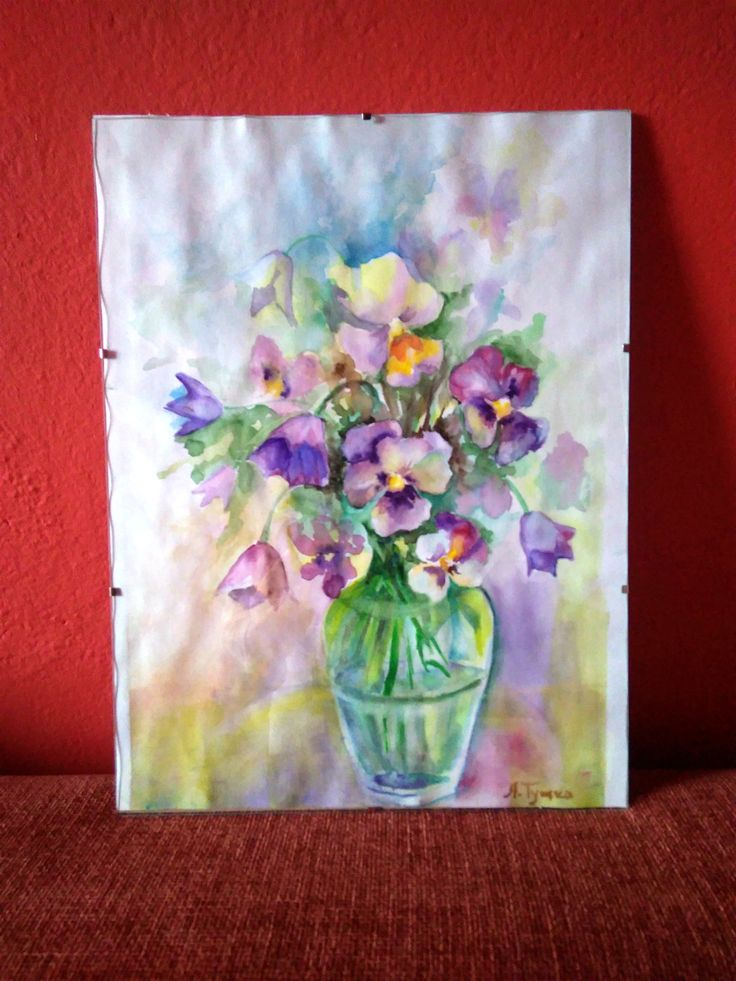 Pansies, Floral Painting,  original watercolor painting, flowers, Yellow and violet flowers, floral still life, 12x15,7, Wall Decor This Pansies my original watercolor.