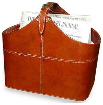 Ellington Contemporary Leather Magazine Holder transitional-magazine-racks
