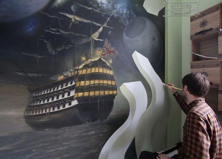 3D роспись на стене в детской комнате мальчика. Trompe-l'oeil in the room boy. Wall murals, 3D painting