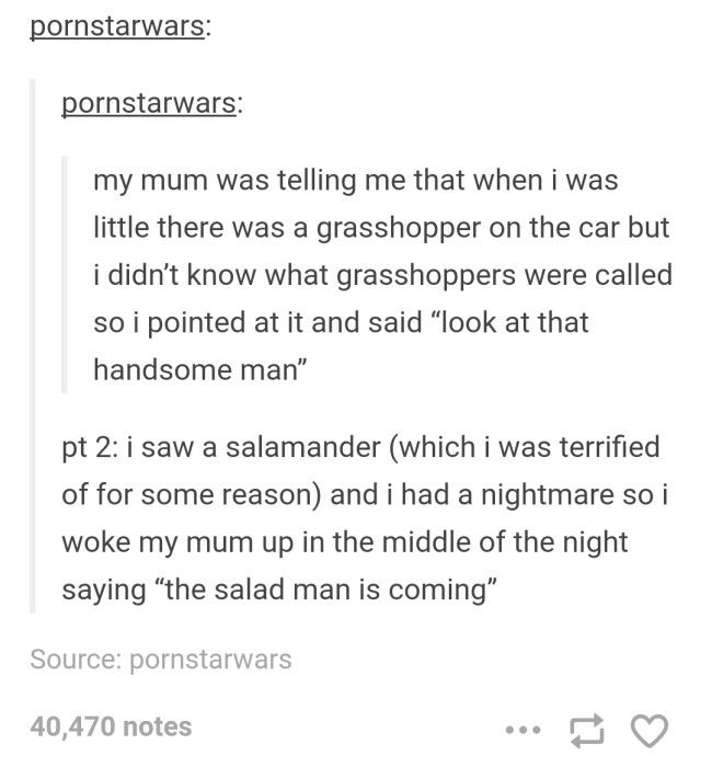 the salad man sounds terrifying. salad.