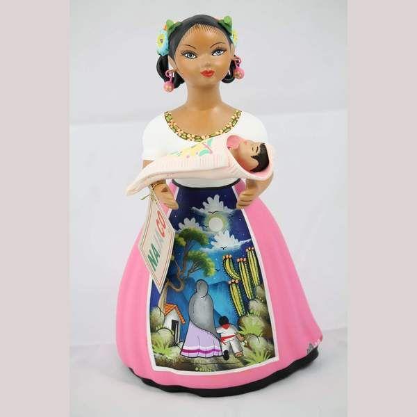 Mexico Handmade Authentic Handmade NAJACO Lupita w a baby, Mexican Figurine, Pink Skirt. Wanderi...