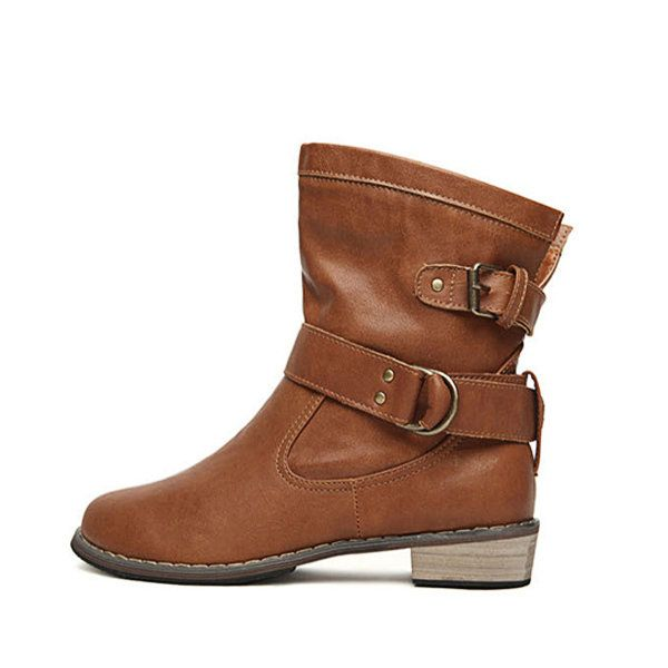 Designer Pu Double Buckle Pure Color Low Heel Ankle Martin Boots - NewChic