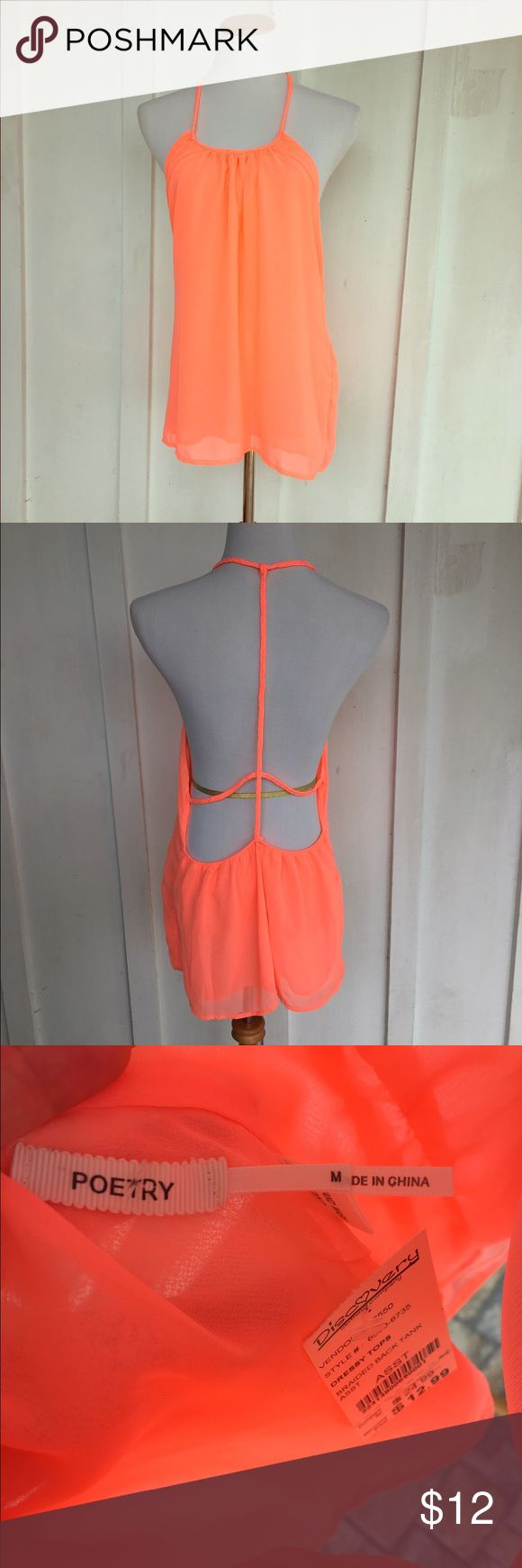 Neon orange / coral strappy blouse NWT neon orange open back tank top. The back has a braided detail. The cut is very fluttery and a bit oversized. It is double layered but still a bit sheer so I would recommend a bralette or it could be worn as a swim coverup. Size medium.   ✮ Condition:  NWT┊New with tags   ✮ Closet Rules:  ⇢ NO SWAPS  ⇢ NO HOLDS  ⇢ PLEASE ASK FOR MEASUREMENTS ⇢ I WILL MODEL ANYTHING THAT FITS IF REQUESTED  ⇢ I USUALLY SHIP SAME OR NEXT BUSINESS DAY  #tanktop #openback…