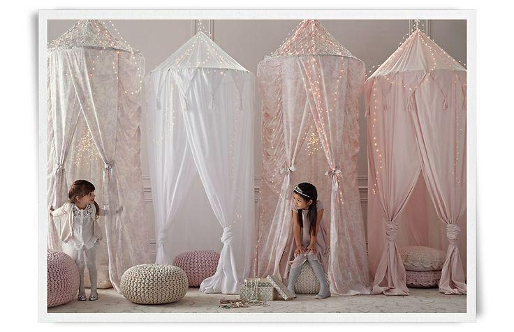 Girls playroom idea...love the canopies