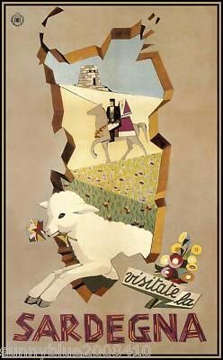 Sardinia, Italy 1951 vintage travel poster
