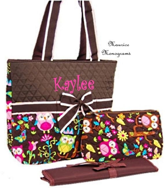 Personalized Owl Print Diaper Bag Set  by MauriceMonograms on Etsy, $35.00