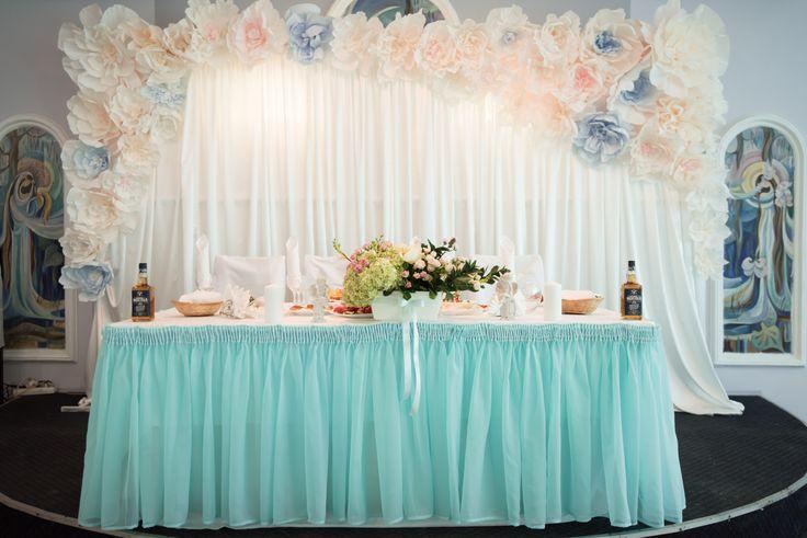 Оформление свадебного зала в мятном цвете
