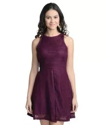At499 Wine Polyester A Line Dress