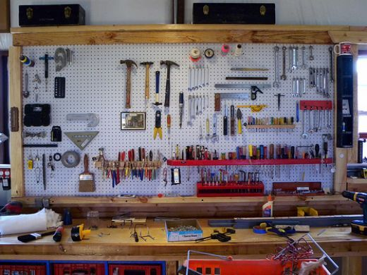 bo garage need a space for tools ideas - Pegboard wall above the workbench Can t wait to organize