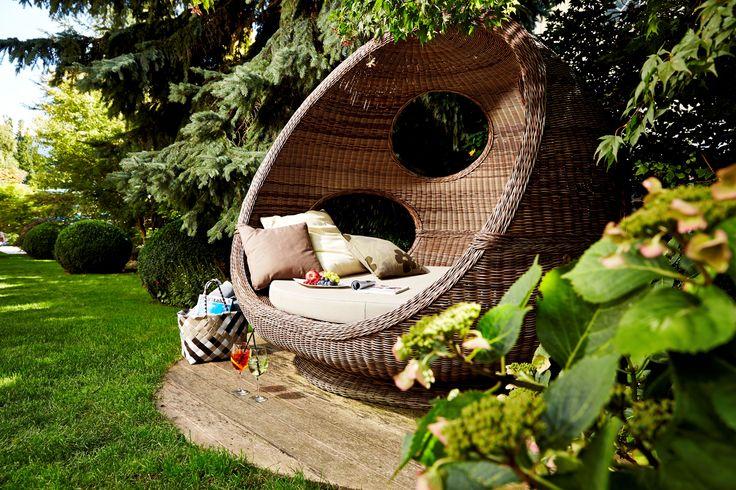 Kuschelecken im Garten des DolceVita Hotel Feldhof in Naturns