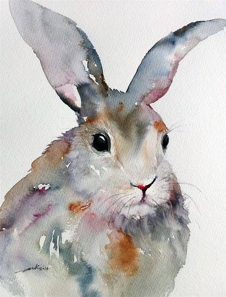 "#Art #Animals - ""Gray Rabbit"" original fine art by Arti Chauhan - love the colours used here.... http://www.ablankcanvas.net"