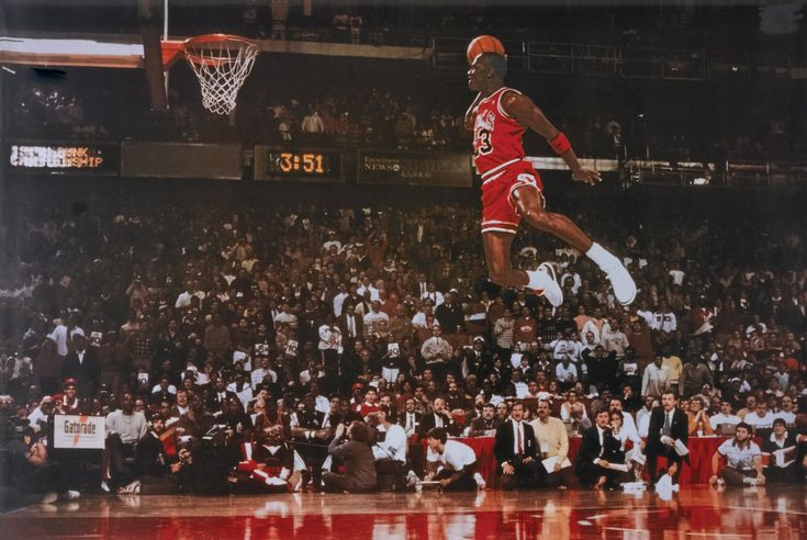 This is probably one of the most iconic images of Michael Jordan, taken during the 1988 NBA Slam Dunk contest, which in itself is widely regarded as the best dunk contest of all time.