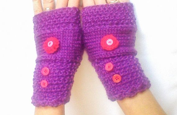 Ladies knit Gloves Purple knit gloves Fingerless by HandmadeTrend, $24.00