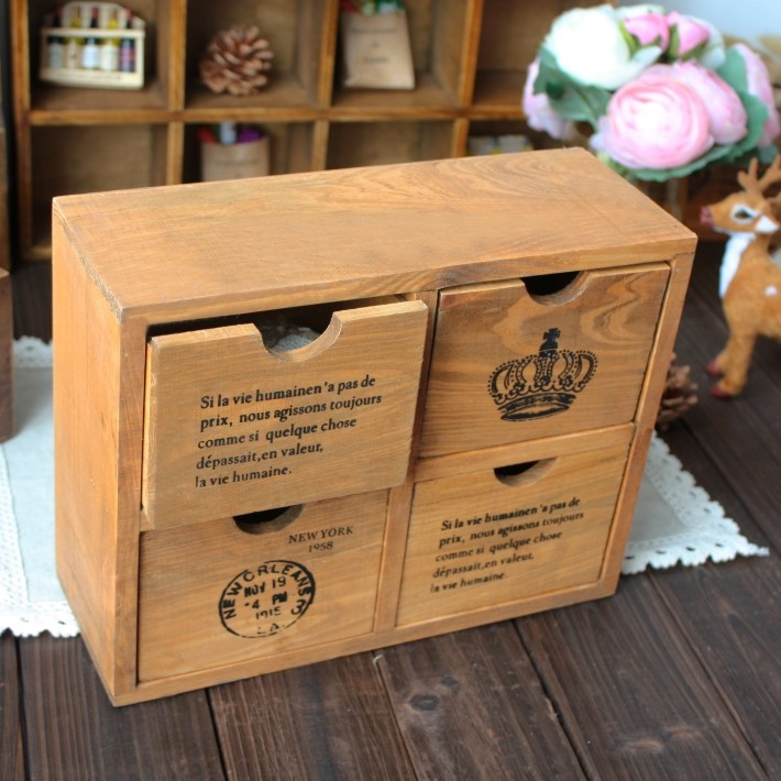 Overall solid wood, retro pattern, can be used as desktop storage, highly decorated, with the scars of old wooden surface.Zakka wooden grocery series, is handmade, retro deal with the old, well-built natural texture foul language, its unique natural workmanship, simplicity and beauty of ancient carving time pipeline industrialization works can not match.  The products itself is not perfect, the surface will be some natural wood texture, these are nature brought it.
