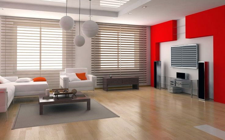 Interior Reasons Why Japanese Interior Design is Popular: Lovely Modern Living Room Japanese Design Ideas With White Couch Cushion Wooden Laminated Floor Grey Rug Red Wall Color Decor And Wooden Coffee Table And Attractive Pendant Lamp