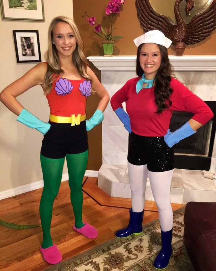 diy mermaid man and barnacle boy halloween costume 2015 for friends - Funny Character Halloween Costumes
