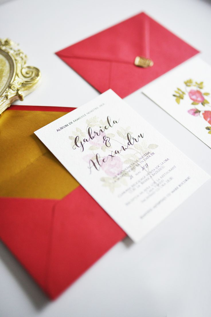 Floral wedding stationery, watercolor wedding invitation, botanical wedding invitation, handmade envelope, golden wax sealing. See in link all the botanical collection.
