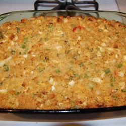 Momma's Cornbread Dressing Recipe - I do make my own homemade cornbread and eliminate the hard cooked eggs (I love them, but the family out votes me :o). Thanks Allrecipes.com!