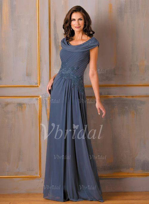 A-Line/Princess Cowl Neck Floor-Length Ruffle Appliques Lace Chiffon Zipper Up Cap Straps Sleeveless 2015 Royal Blue Other Colors Spring Fall General Mother of the Bride Dress