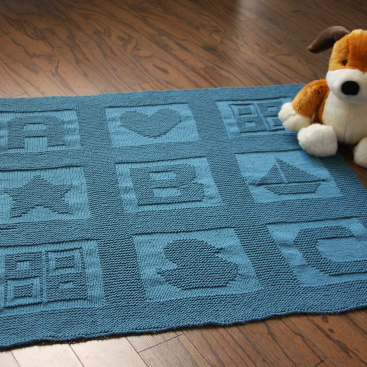 Available for free through Knit Picks.com, this ABC Baby Blanket is easy to knit, using only knit and purl stitches