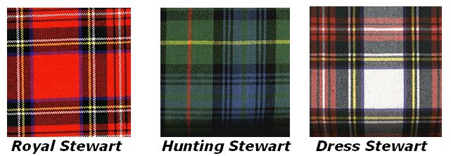 Three different Stewart Clan Tartans My family is the royal stewart tartan