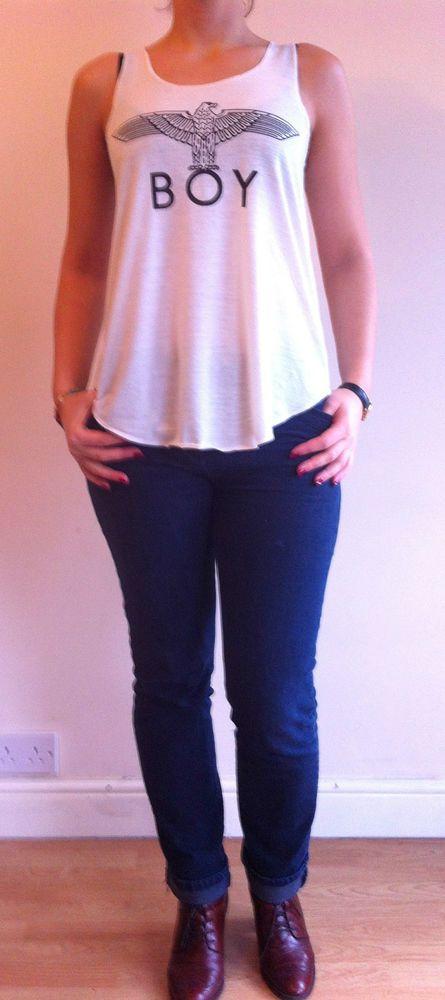 BOY LONDON EAGLE  Print white vest tank top Ladies Women  T-SHIRT #FASHIONNETWORK #Personalised
