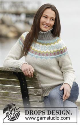 Пуловер с круглой кокеткой и норвежским узором