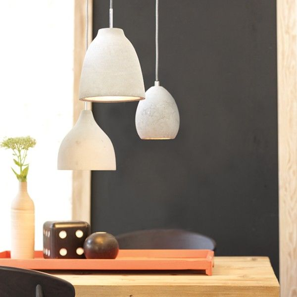 Beacon Lighting - Tadao industrial 1 light small water drop shaped pendant in light weight concrete and chrome ceiling canopy, shade finish may vary
