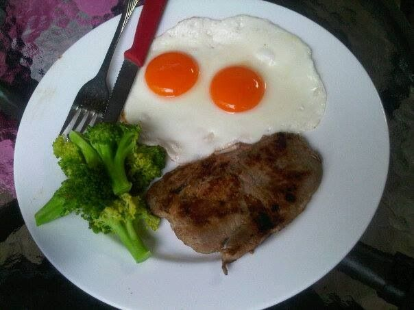 Simple Steak with Half Boiled Egg