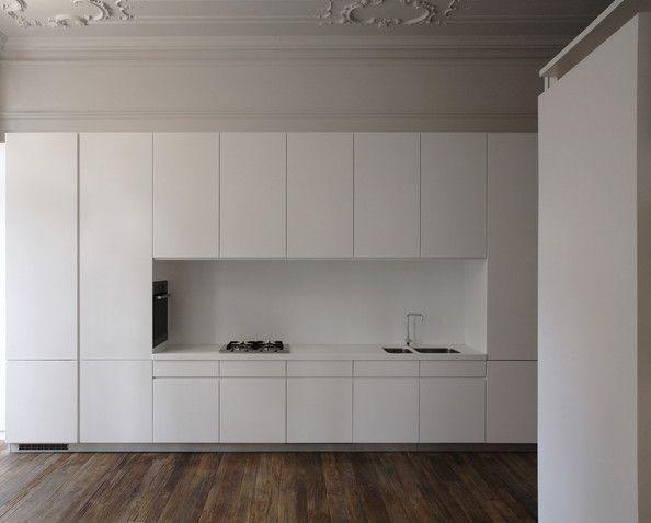 minimal white laminate modern kitchen