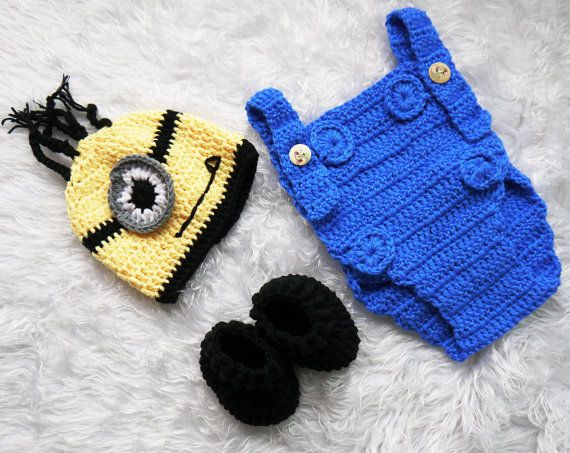 Crochet Patterns For Baby Overalls : Baby Boy Crochet Despicable Me Outfit. Minion Costume ...