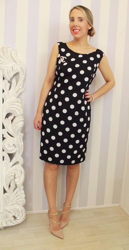 Precis polka Dot Black Flattering Wiggle Career Occasion Dress 16 42 Petite outfit